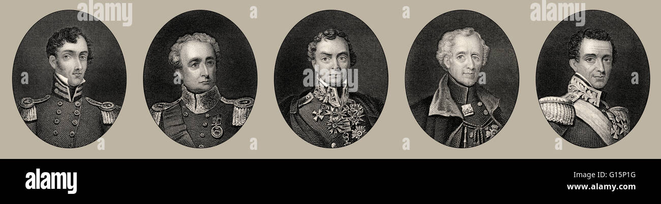 British Army officers in India, 19th century, SIR John Hunter Littler, Sir Robert Henry Sale, Henry Hardinge, Hugh - Stock Image