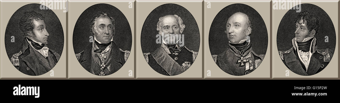 British Royal Navy officers, 18th century - Stock Image