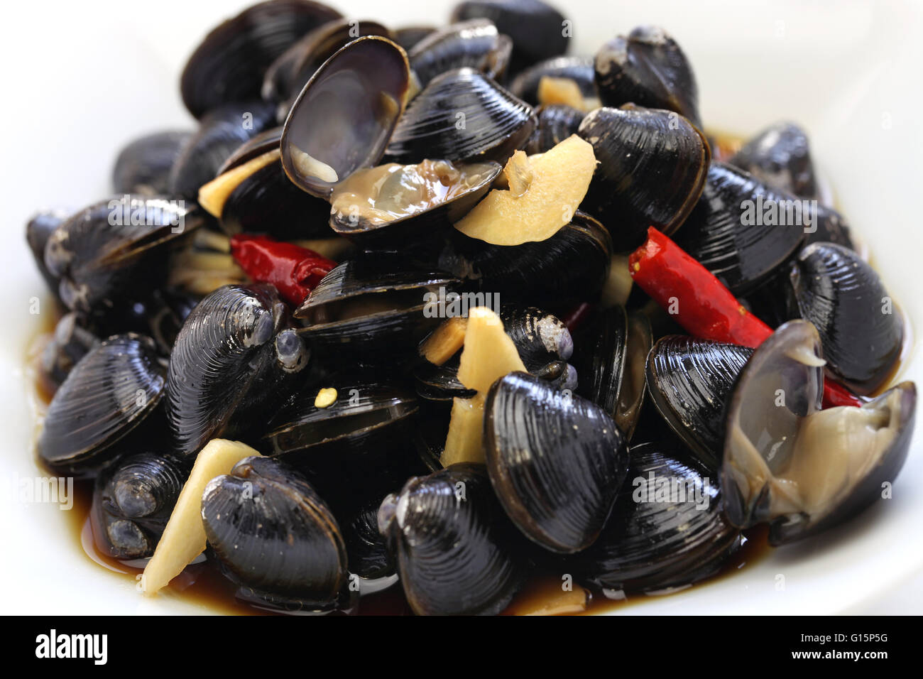 freshwater clam ceviche, marinated river clam, pickled asian clams, taiwan food appetizer - Stock Image