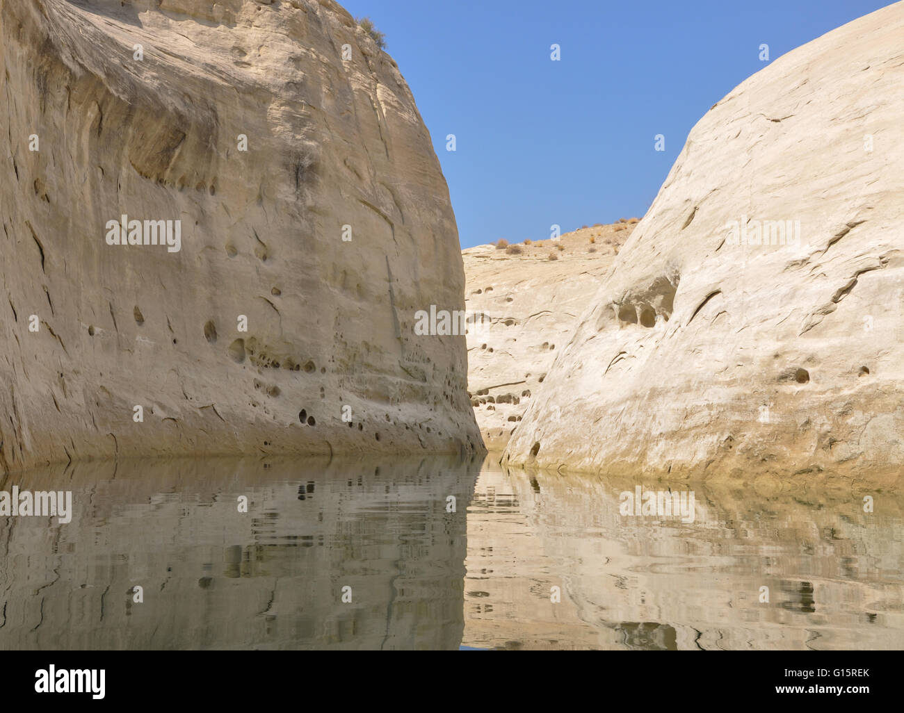 three different planes of natural rock that has water erosion - Stock Image