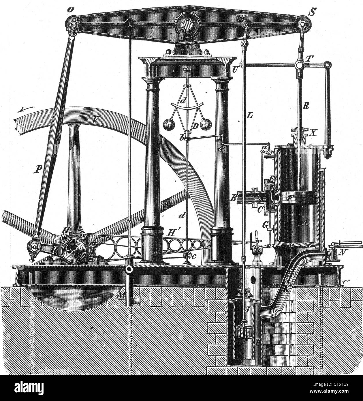 The Watts steam engine was the first type of steam engine to make use of steam at a pressure just above atmospheric - Stock Image