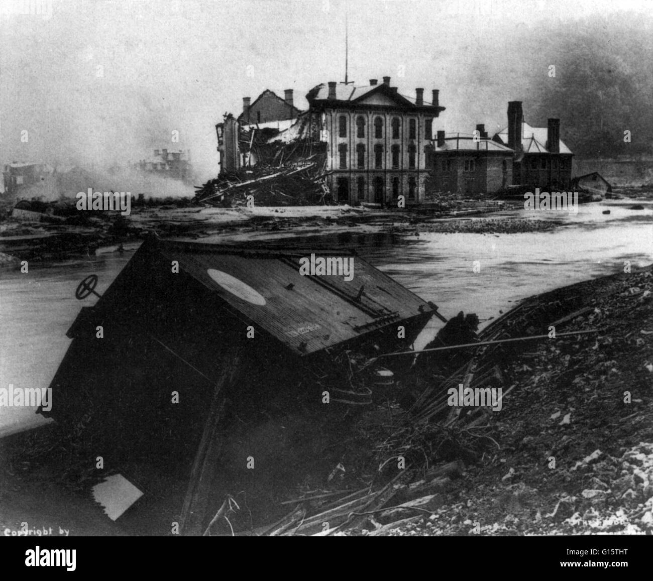 The Johnstown Flood (or Great Flood of 1889 as it became known locally) occurred on May 31, 1889. It was the result - Stock Image