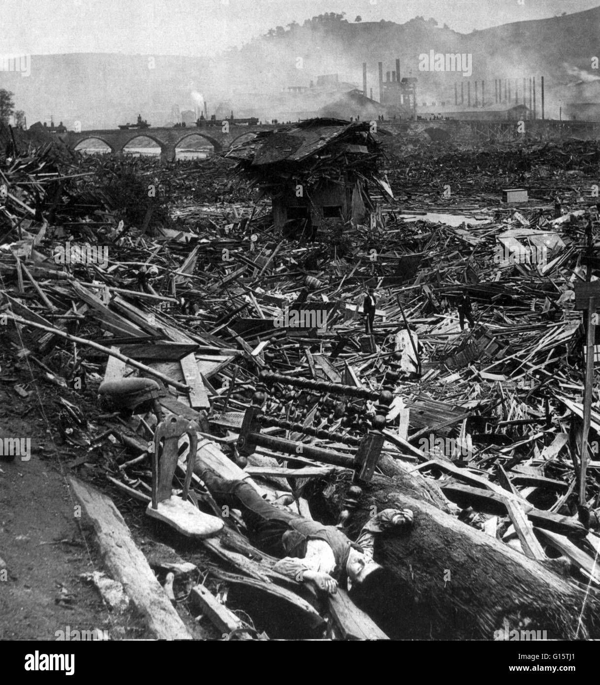 The Johnstown Flood (or Great Flood of 1889 as it became known locally) occurred on May 31, 1889. It was the result Stock Photo