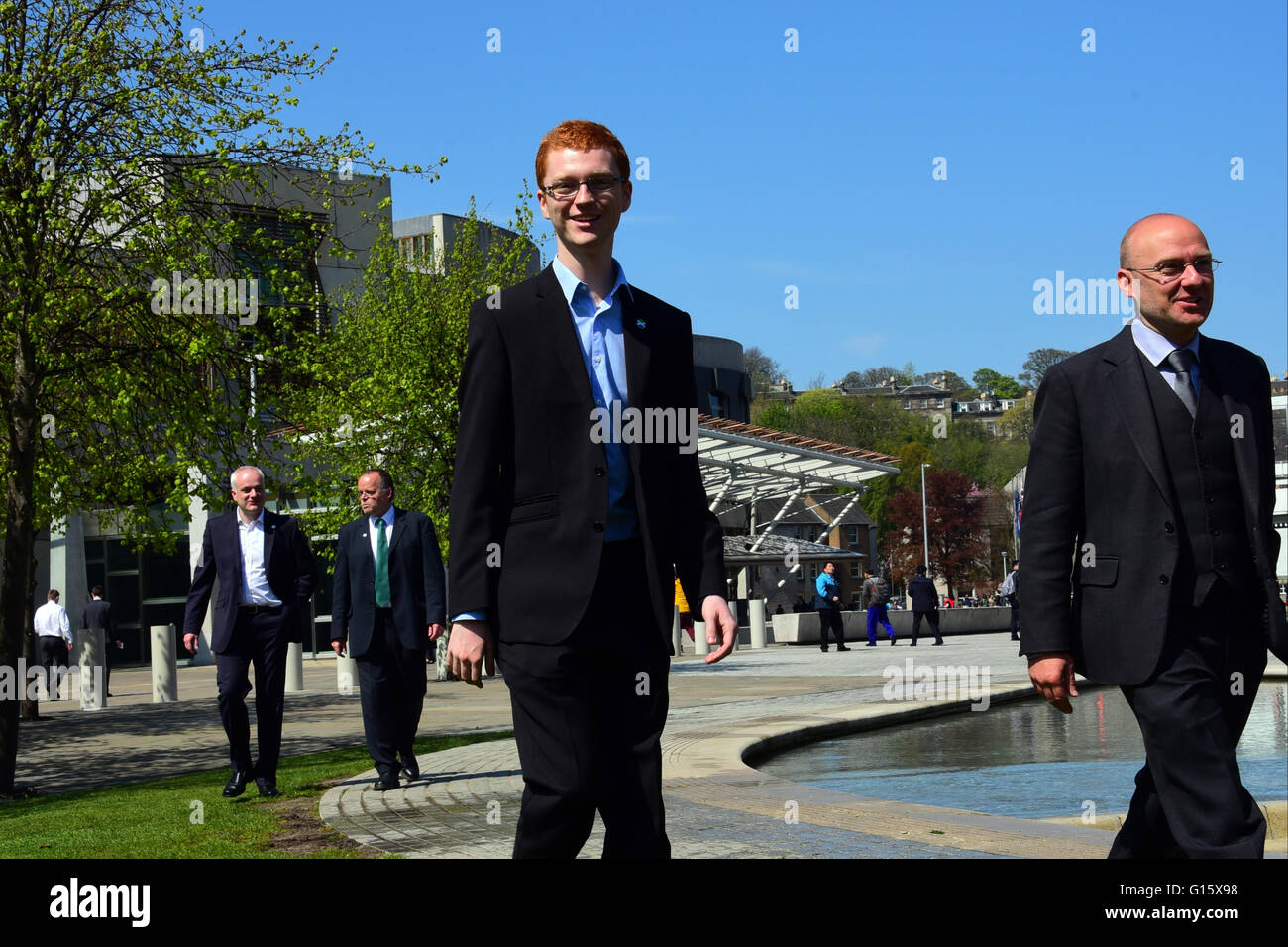 Edinburgh, Scotland, United Kingdom, 09, May, 2016. The youngest-ever MSP, 21-year-old Scottish Green member Ross - Stock Image