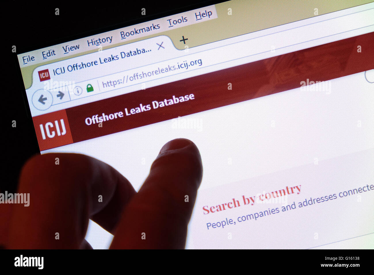 The International Consortium of Investigative Journalists ( ICIJ ) published a huge database of documents and data - Stock Image