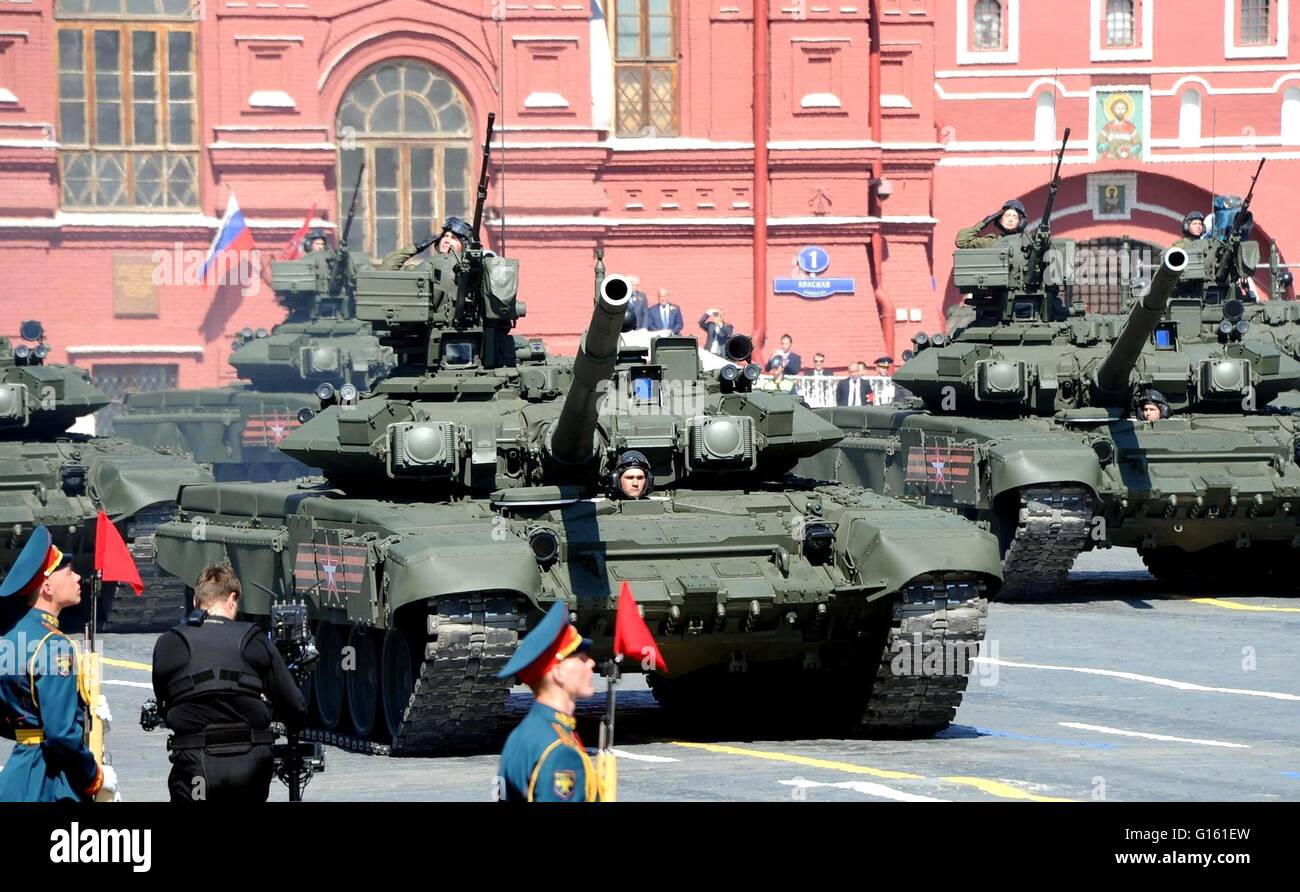 Russian soldiers in T-14 Armata battle tanks during the annual Victory Day military parade marking the 71th anniversary - Stock Image