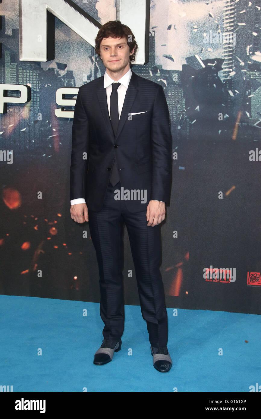 London, UK. 9th May, 2016. Evan Peters attending 'X-Men Apocalypse' Global Fan Screening at BFI Imax in - Stock Image