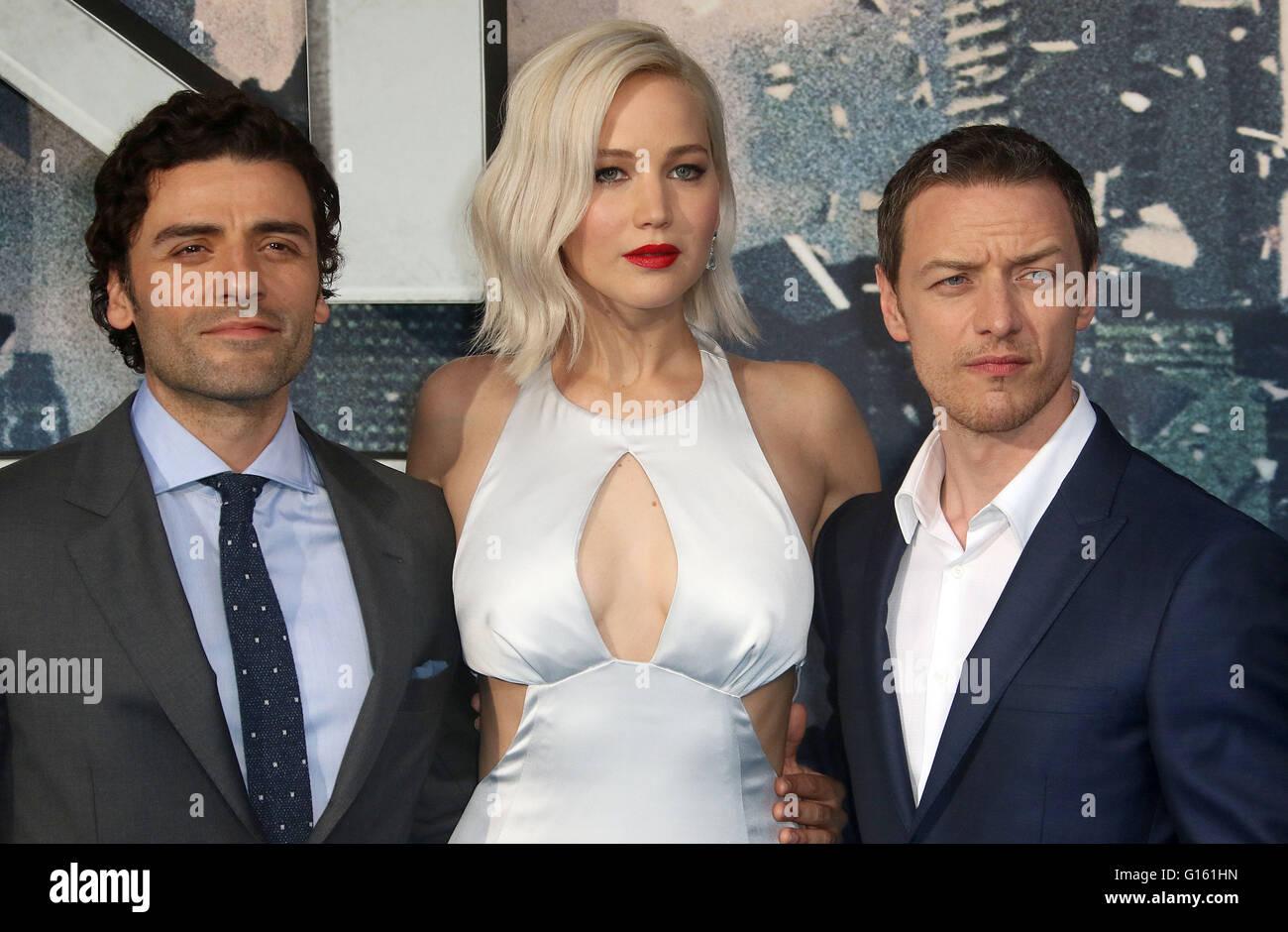 London, UK. 9th May, 2016. Oscar Isaac, Jennifer Lawrence and James McAvoy attending 'X-Men Apocalypse' - Stock Image