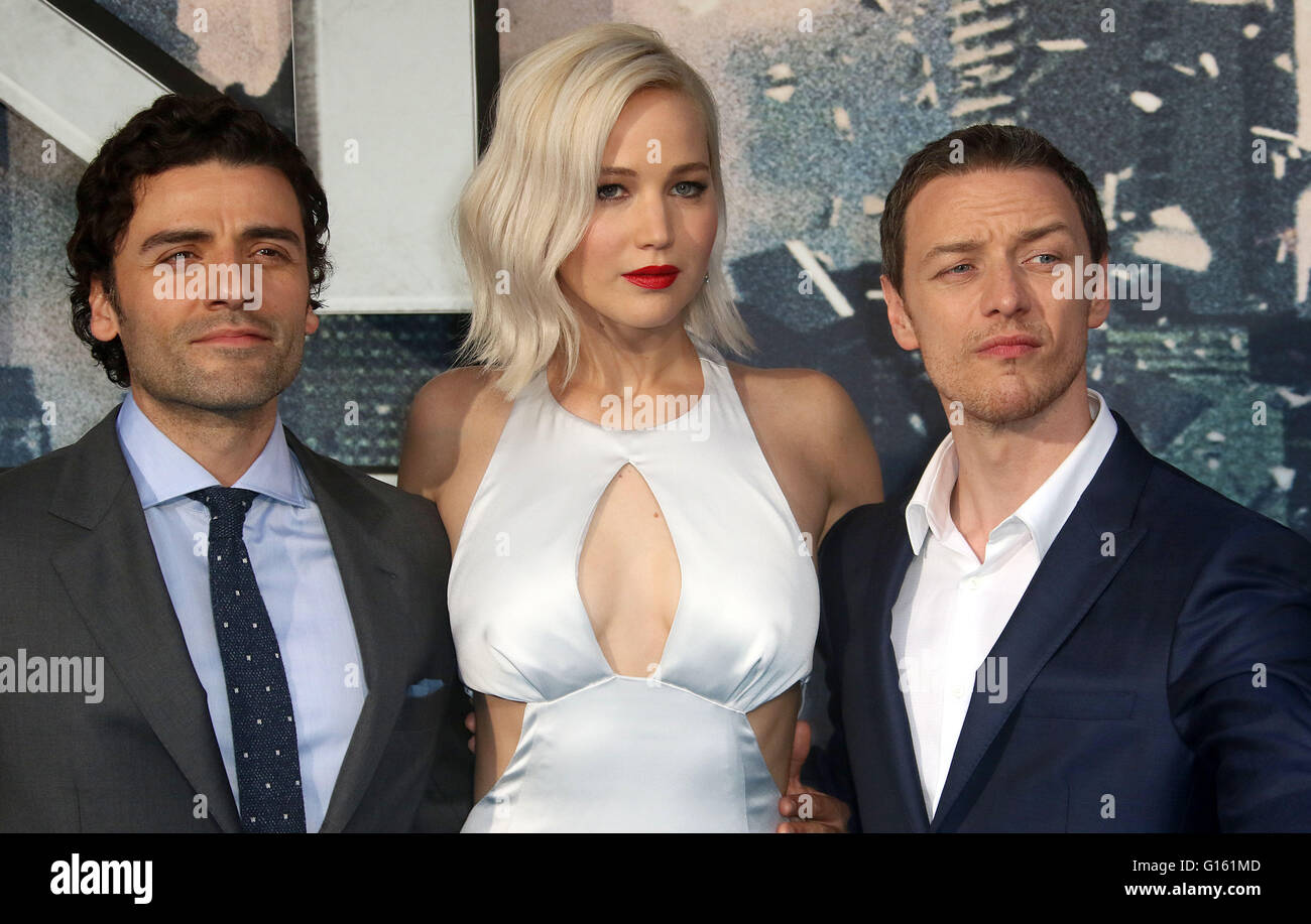 London, UK. 9th May, 2016. Oscar Isaac, Jennifer Lawrence and James McAvoy attending 'X-Men Apocalypse' - Stock Image
