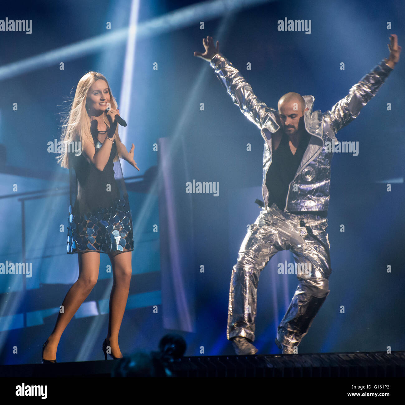 Stockholm, Sweden. 9th May. Lidia Isac performing 'Falling Stars' for Moldova. Stock Photo
