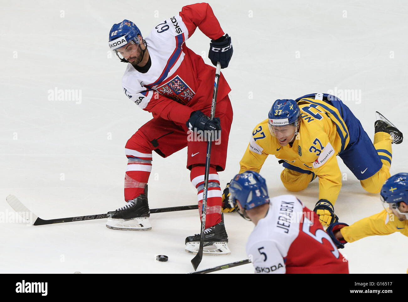 MOSCOW, RUSSIA. MAY 9, 2016. The Czech Republic's Michal Repik (L back), Jakub Jerabek (C front), and Sweden's John Stock Photo