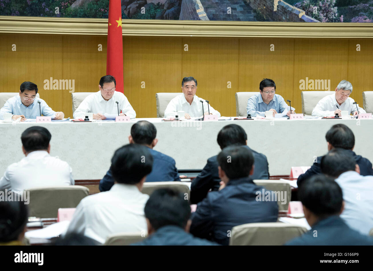 Beijing, China. 10th May, 2016. Chinese Vice Premier Wang Yang(3rd L back) speaks at the national teleconference Stock Photo