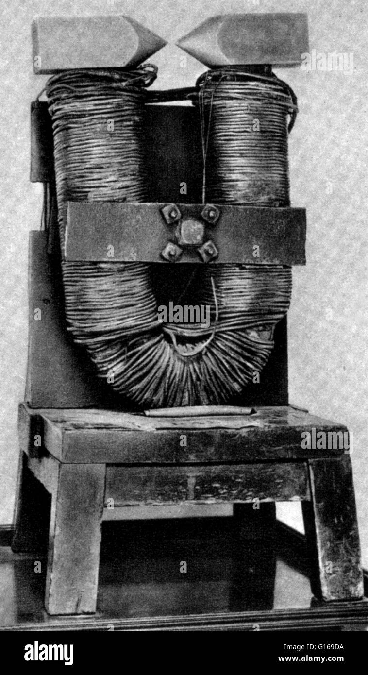 An electromagnet built by Michael Faraday. It was made of an iron ...
