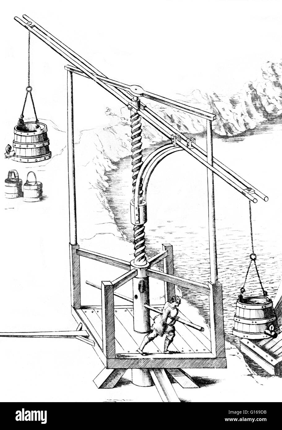Illustration of a machine to raise water, 16th century. A lever is a machine consisting of a beam or rigid rod pivoted - Stock Image