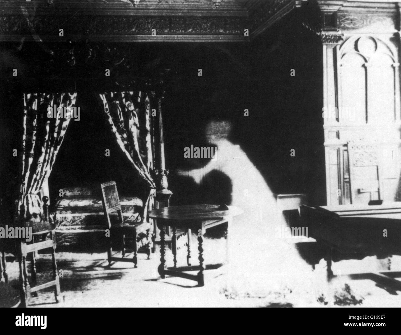 Victorian fake apparition created through double exposure, trick photography. In traditional belief and fiction, - Stock Image