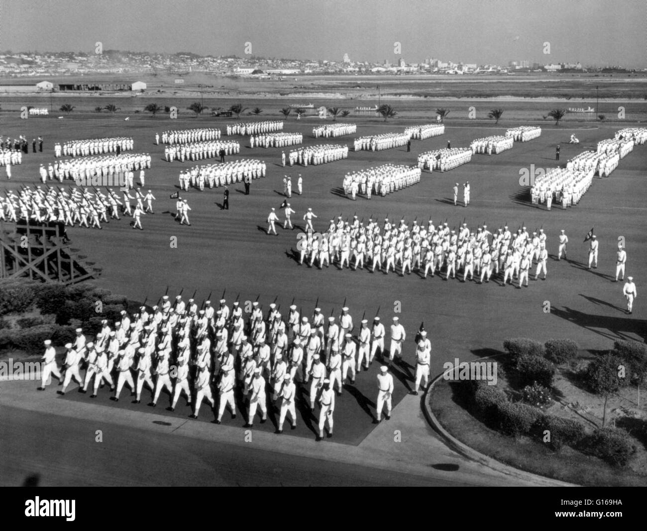 United States Naval Training Center, San Diego, California, late 1940's. A military parade is a formation of - Stock Image
