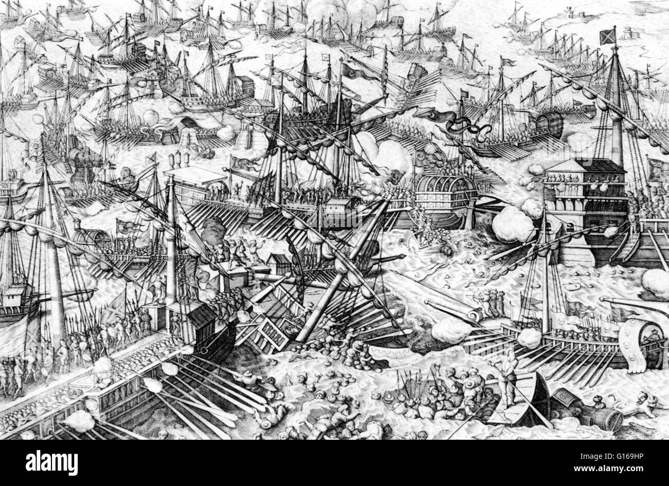 The Battle of Lepanto took place on October 7, 1571 when a fleet of the Holy League, a coalition of southern European - Stock Image