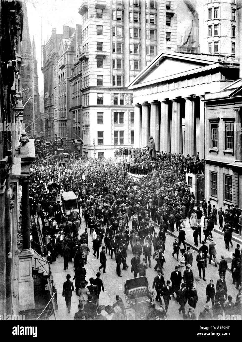 The Panic of 1907 was a financial crisis that occurred when the New York Stock Exchange fell almost 50% from its - Stock Image