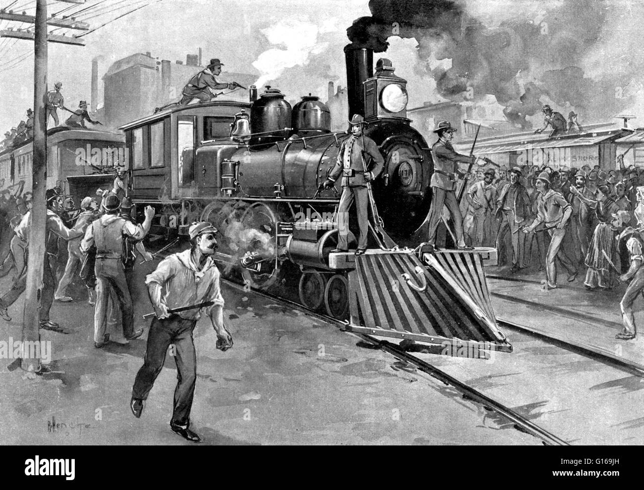 The Pullman Strike was a nationwide conflict in the summer of 1894 between the new American Railway Union (ARU) Stock Photo