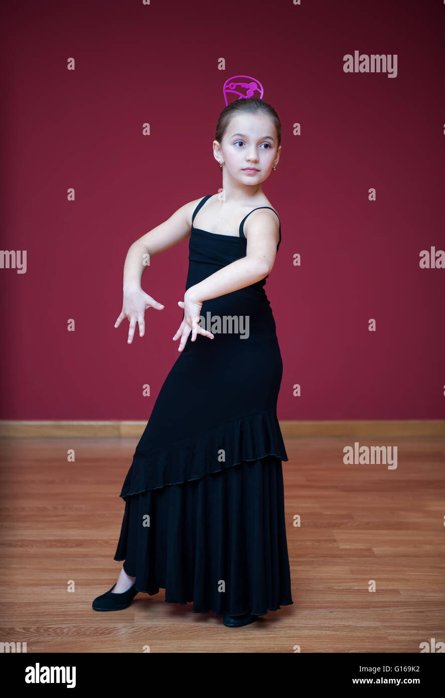 Young beautiful girl dancing - Stock Image