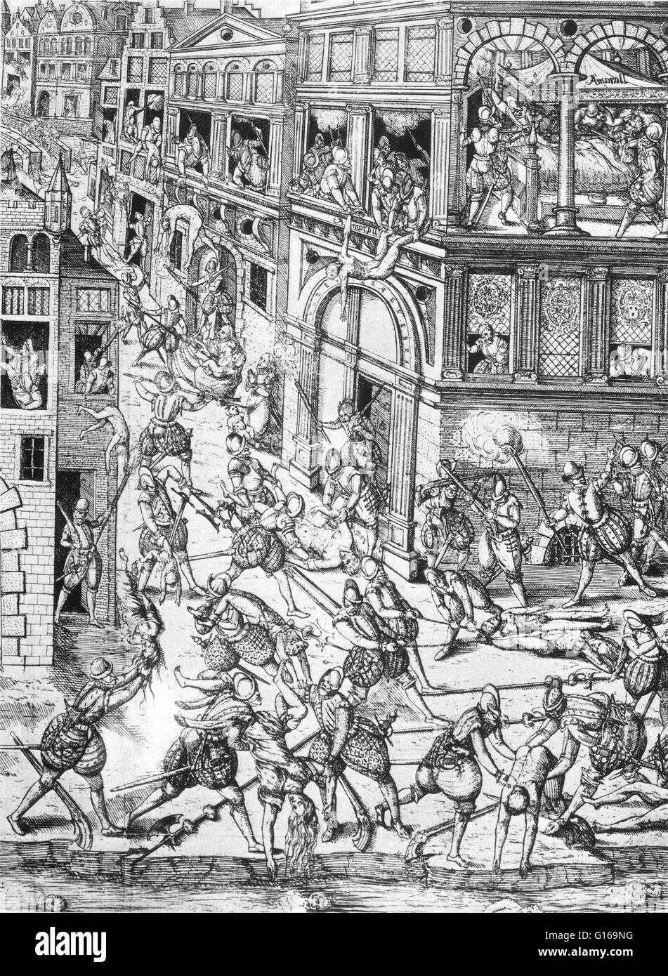 The St. Bartholomew's Day massacre in 1572 was a targeted group of assassinations, followed by a wave of Roman Catholic mob violence, both directed against the Huguenots, during the French Wars of Religion. Traditionally believed to have been instigated by Catherine de' Medici. The massacre began on August 23, 1572, two days after the attempted assassination of Admiral Gaspard de Coligny, the military and political leader of the Huguenots. The king ordered the killing of a group of Huguenot leaders, including Coligny, and the slaughter spread throughout Paris. Lasting several weeks, the massac Stock Photo