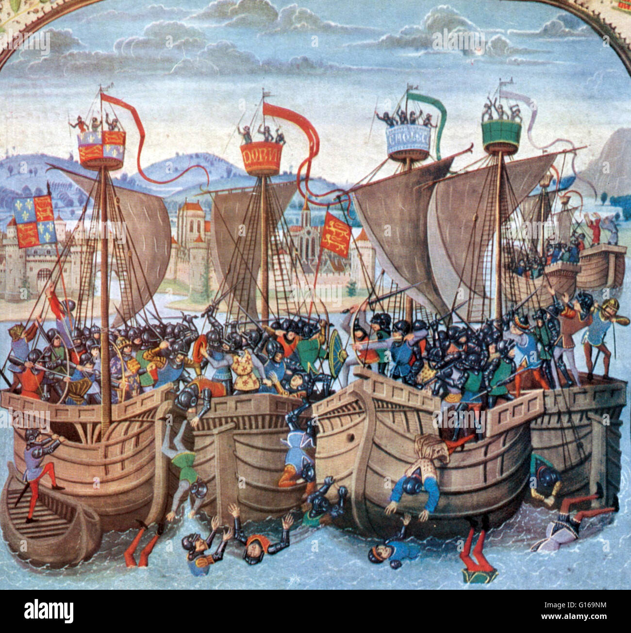 Detail from the  miniature of the battle from Jean Froissart's Chronicles, 15th century. The Battle of Sluys - Stock Image