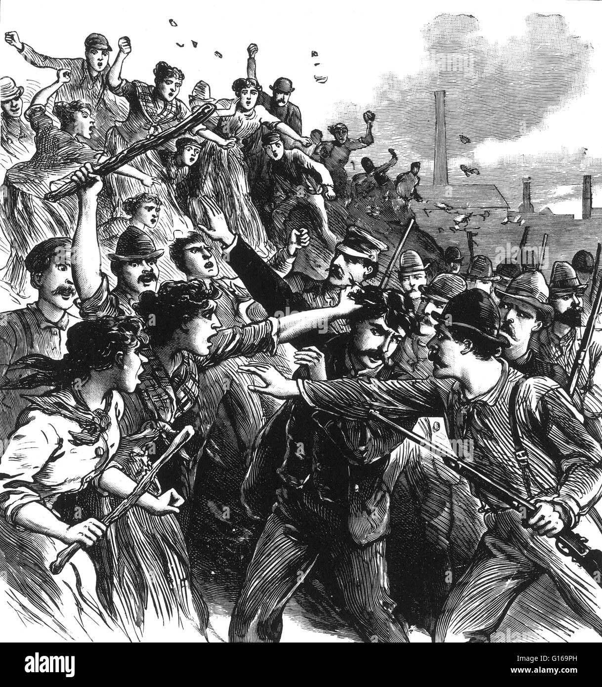 The Homestead Strike was an industrial lockout and strike which began on June 30, 1892, culminating in a battle - Stock Image