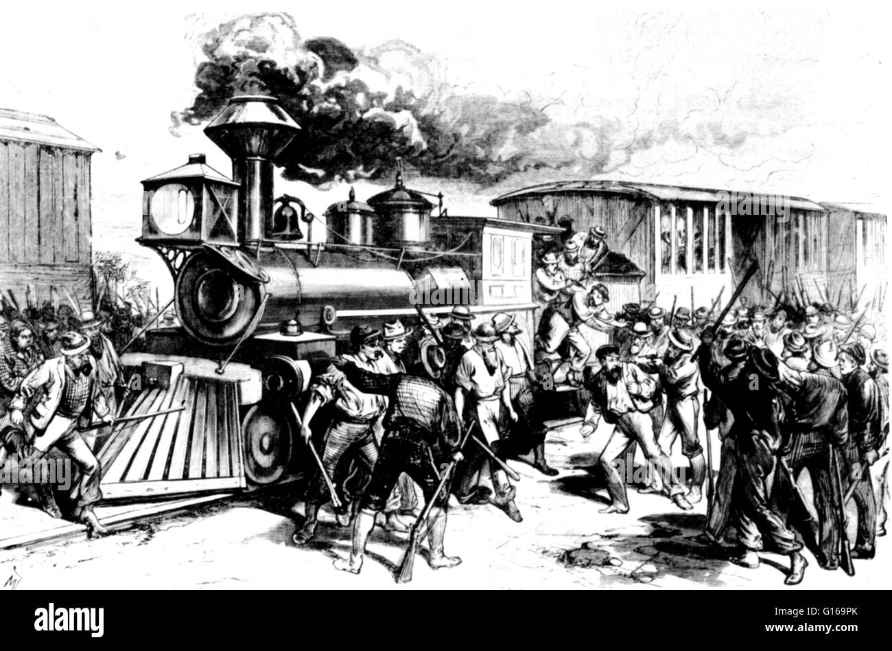 The Great Railroad Strike of 1877 started on July 14 in Martinsburg, West Virginia, in response to the cutting of - Stock Image