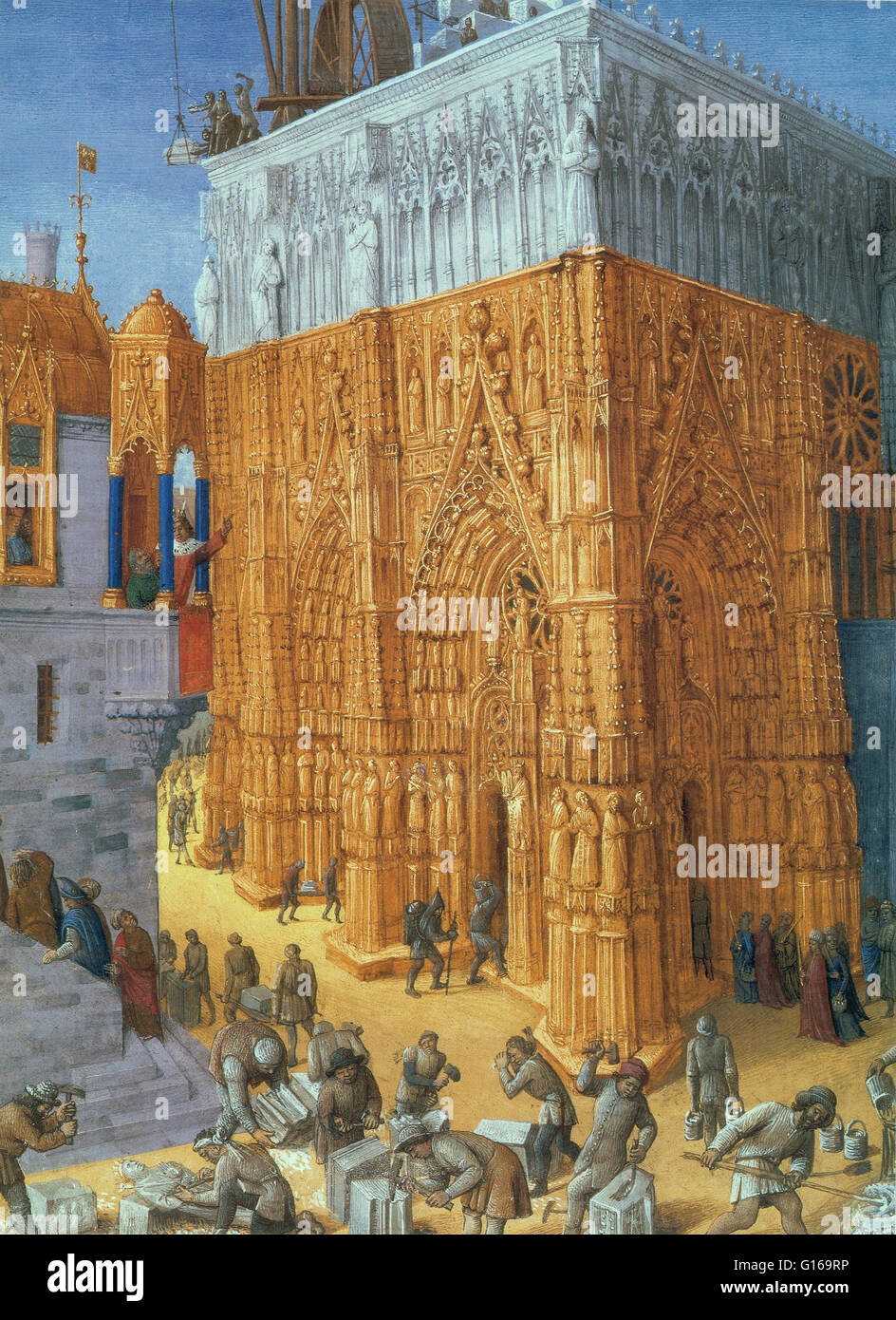 French painter and illuminator Jean Fouquet created this miniature around 1465 to illustrate the story of King Solomon - Stock Image