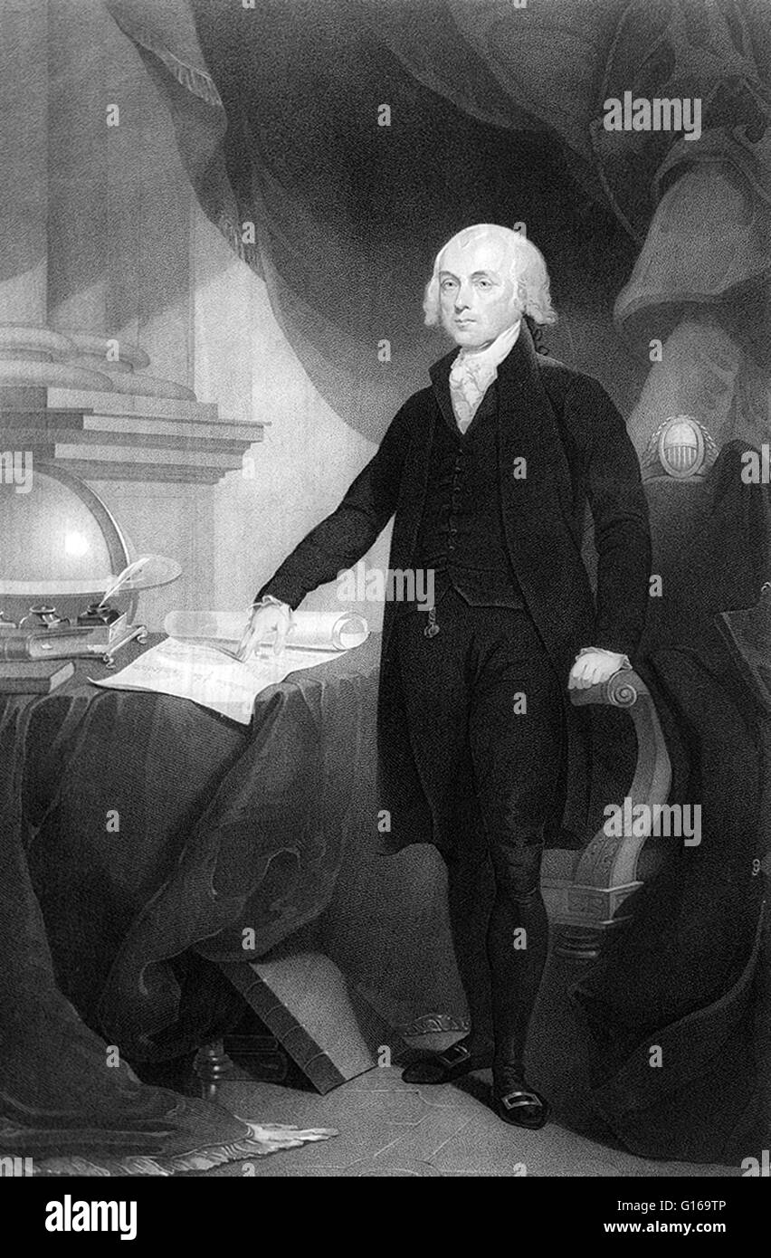 James Madison, Jr. (March 16, 1751 - June 28, 1836) was the fourth President of the United States (1809-1817) statesman - Stock Image