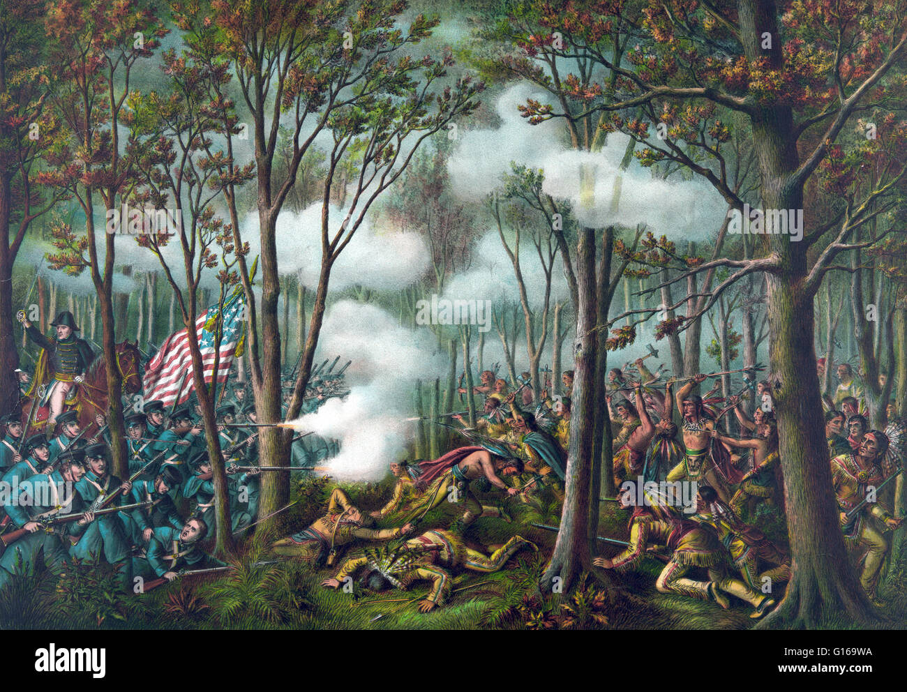 The Battle of Tippecanoe was fought on November 7, 1811, between U.S. forces led by Governor William Henry Harrison - Stock Image