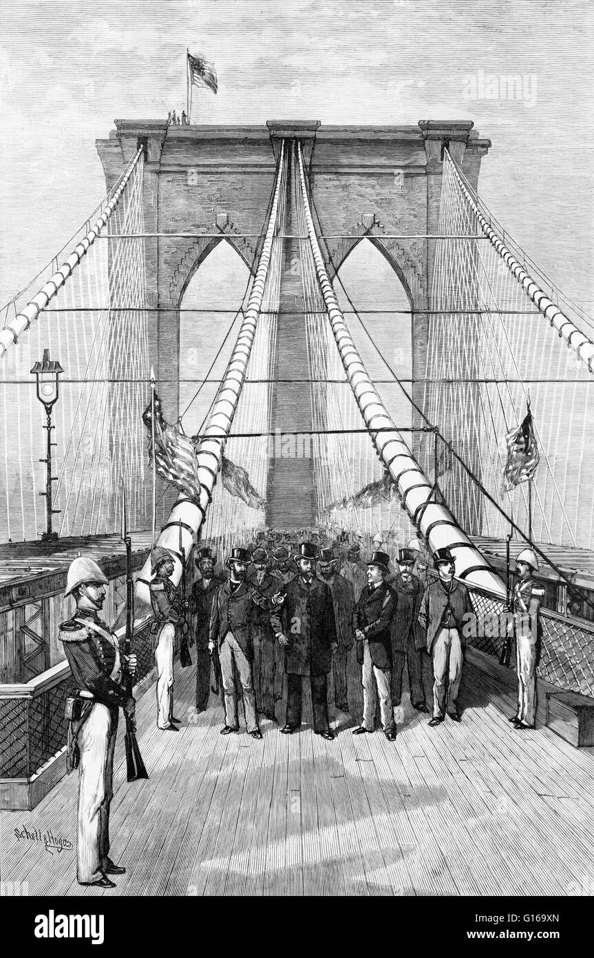 Engraving entitled: 'The Great bridge. President Arthur and his party crossing the suspended highway, 1883.' - Stock Image