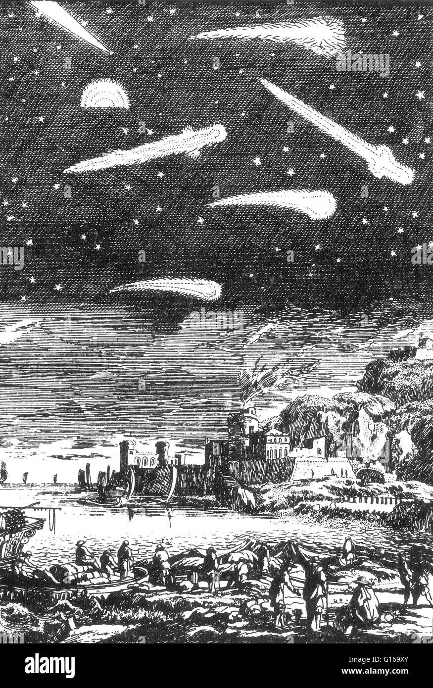 Engraving entitled: 'Calamities on Earth Associated with the Passage of Comets', from the 17th century. - Stock Image