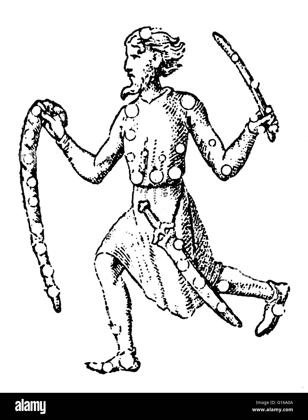 Woodcut of Orion from the Alfonsine tables, 1252. The tables provided data for computing the position of the Sun, - Stock Image