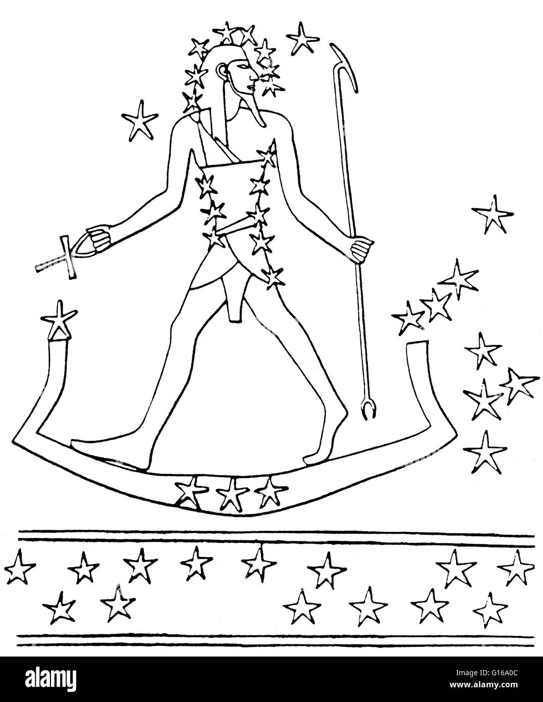 Osiris-Orion travels across the sky on the sacred boat (stars of Lepus). From a star map in the tomb of Montemhet - Stock Image
