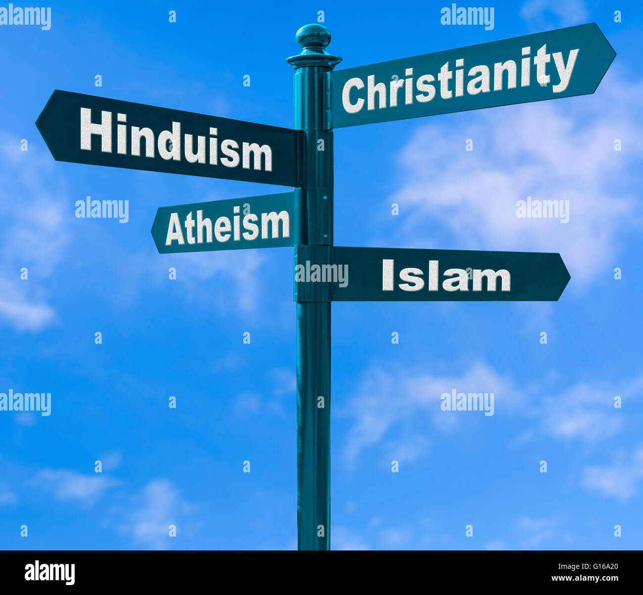 Multiple direction signpost showing various religion options against a blue sky. - Stock Image