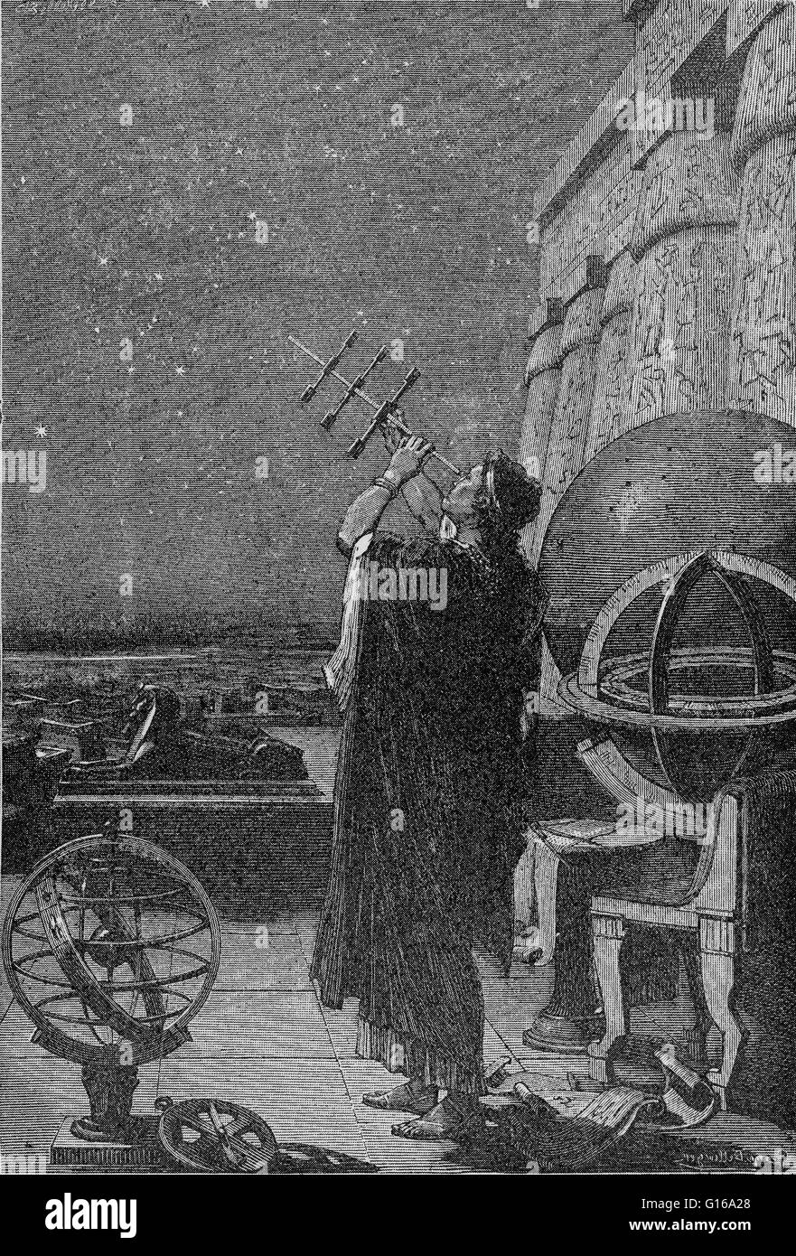 Alexandria observatory, 2nd century BC - 2nd century AD. Astronomer using a pre-telescopic sighting instrument, - Stock Image
