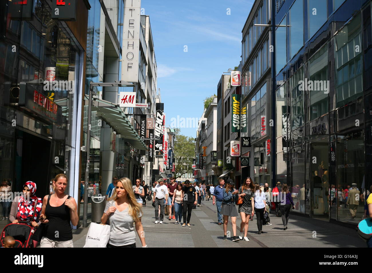 look into the famous shopping street Hohe Straße, in Cologne, Germany Stock Photo