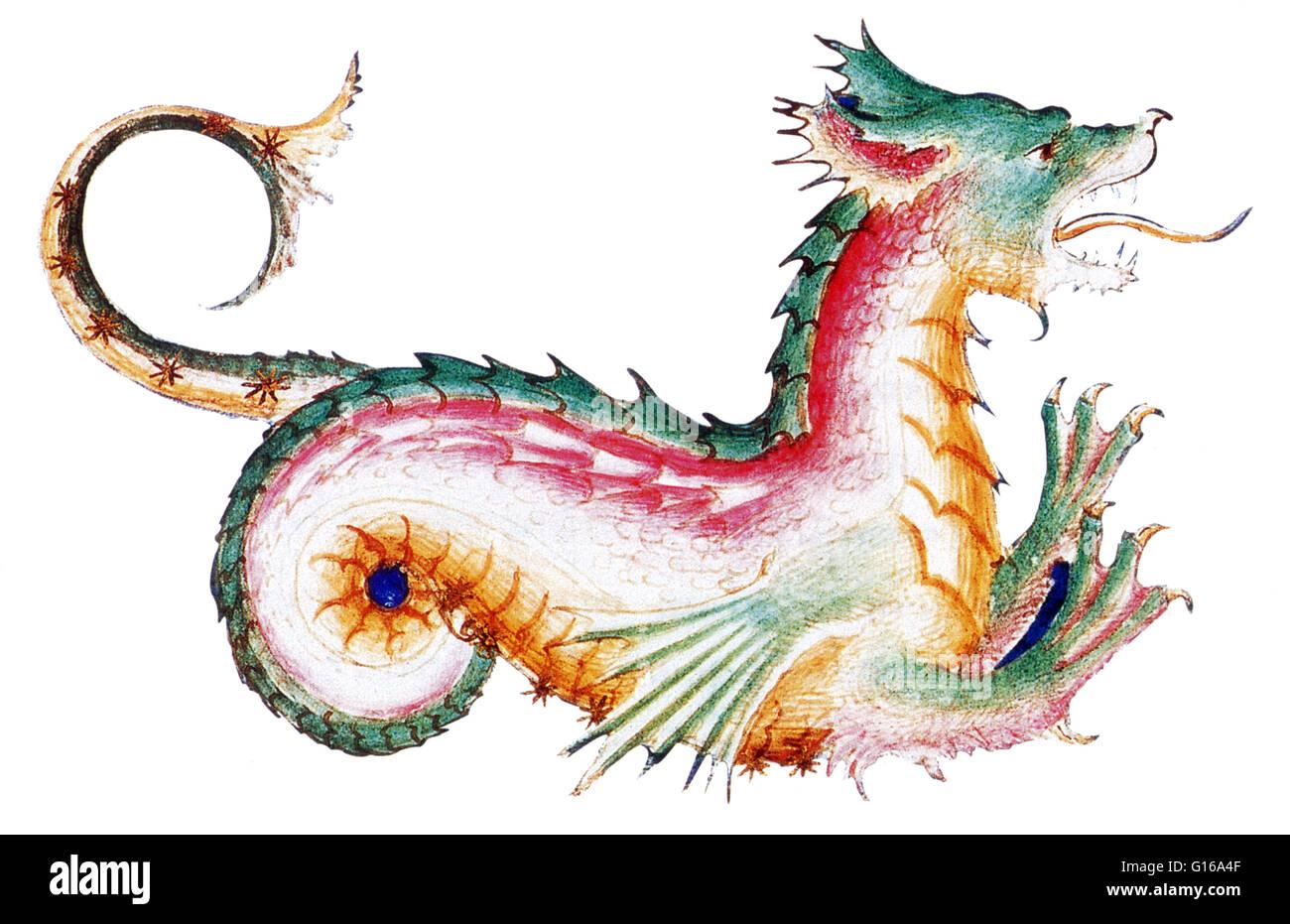 Rainbow colored dragon, perhaps the constellation Draco, illustrates a 15th century manuscript of De Sideribus Tractatus - Stock Image