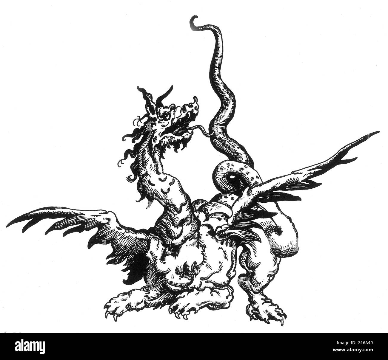 A dragon is a legendary creature, typically with serpentine or reptilian traits, that features in the myths of many - Stock Image
