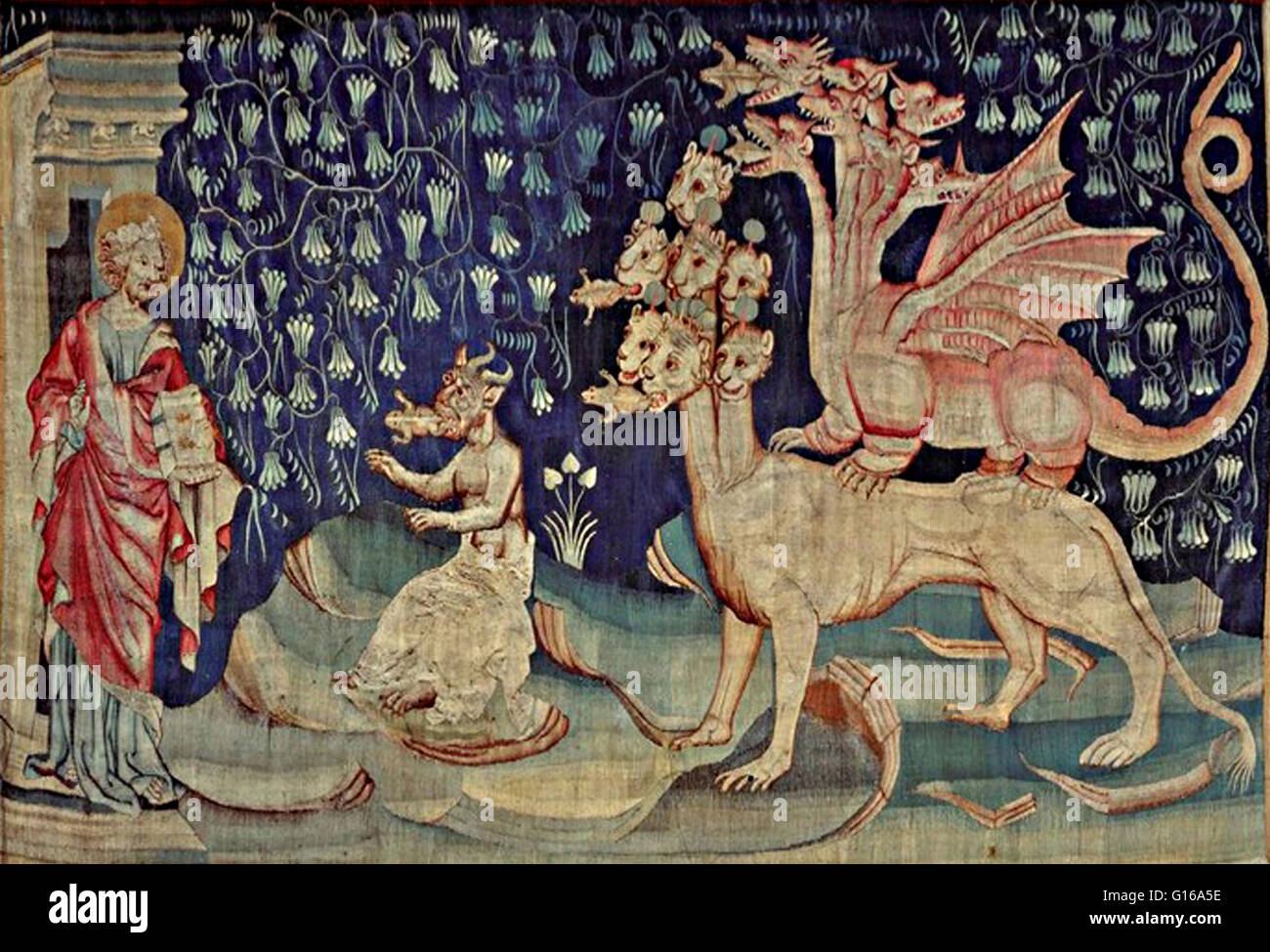 Tapisserie de l'Apocalypse. A medieval tapestry of the False Prophet, the Dragon, and the Beast of the Sea. - Stock Image
