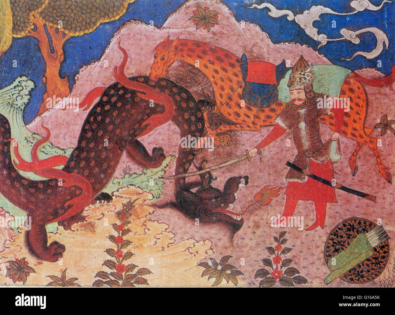 Rostam is the epic hero of the story, Rostam and Sohrab, part of the Persian epic of Shahnama in Persian mythology. - Stock Image