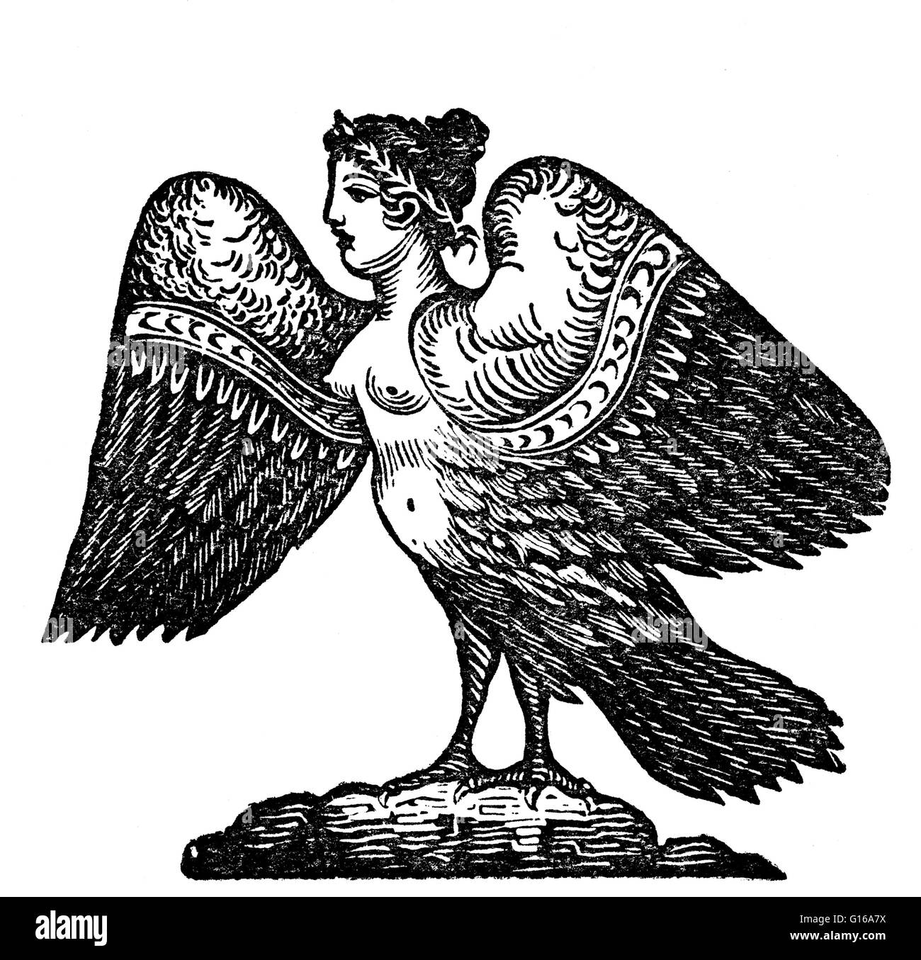 In earlier versions of Greek myth, Harpies were described as beautiful, winged maidens. Later they became winged - Stock Image