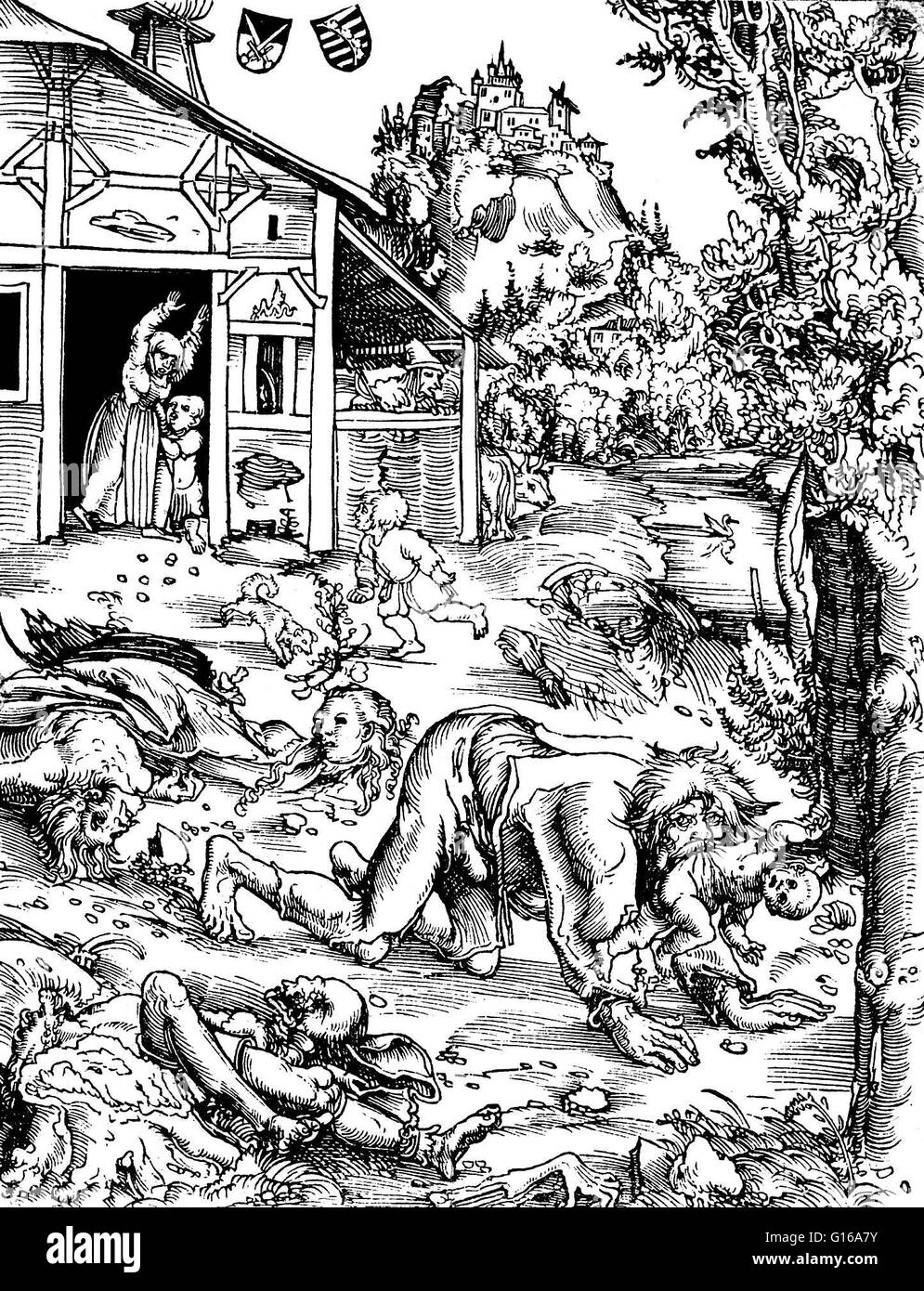 Woodcut of a werewolf attack, by Lucas Cranach the Elder, 1512. A werewolf,  in European folklore, is a man who turns into a wolf at night and devours  ...