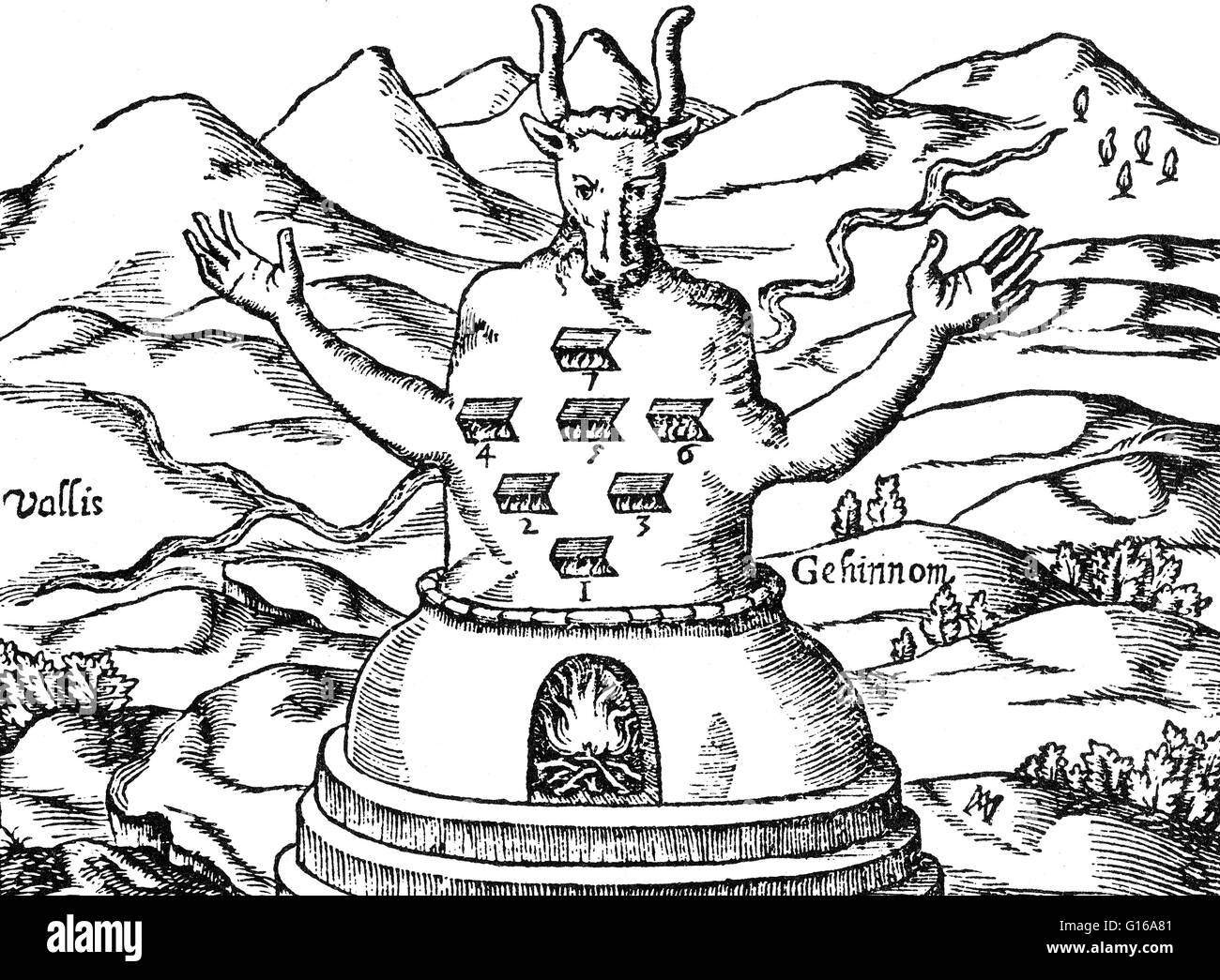 The sun god of the Ammonites and sometimes associated with the Sumerian Baal, although Moloch was entirely malevolent. Stock Photo