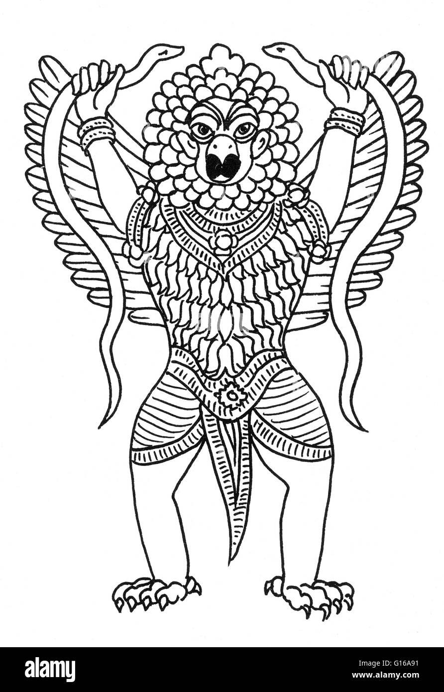 The Garuda is a large mythical bird or bird-like creature that appears in both Hindu and Buddhist mythology. Garuda - Stock Image