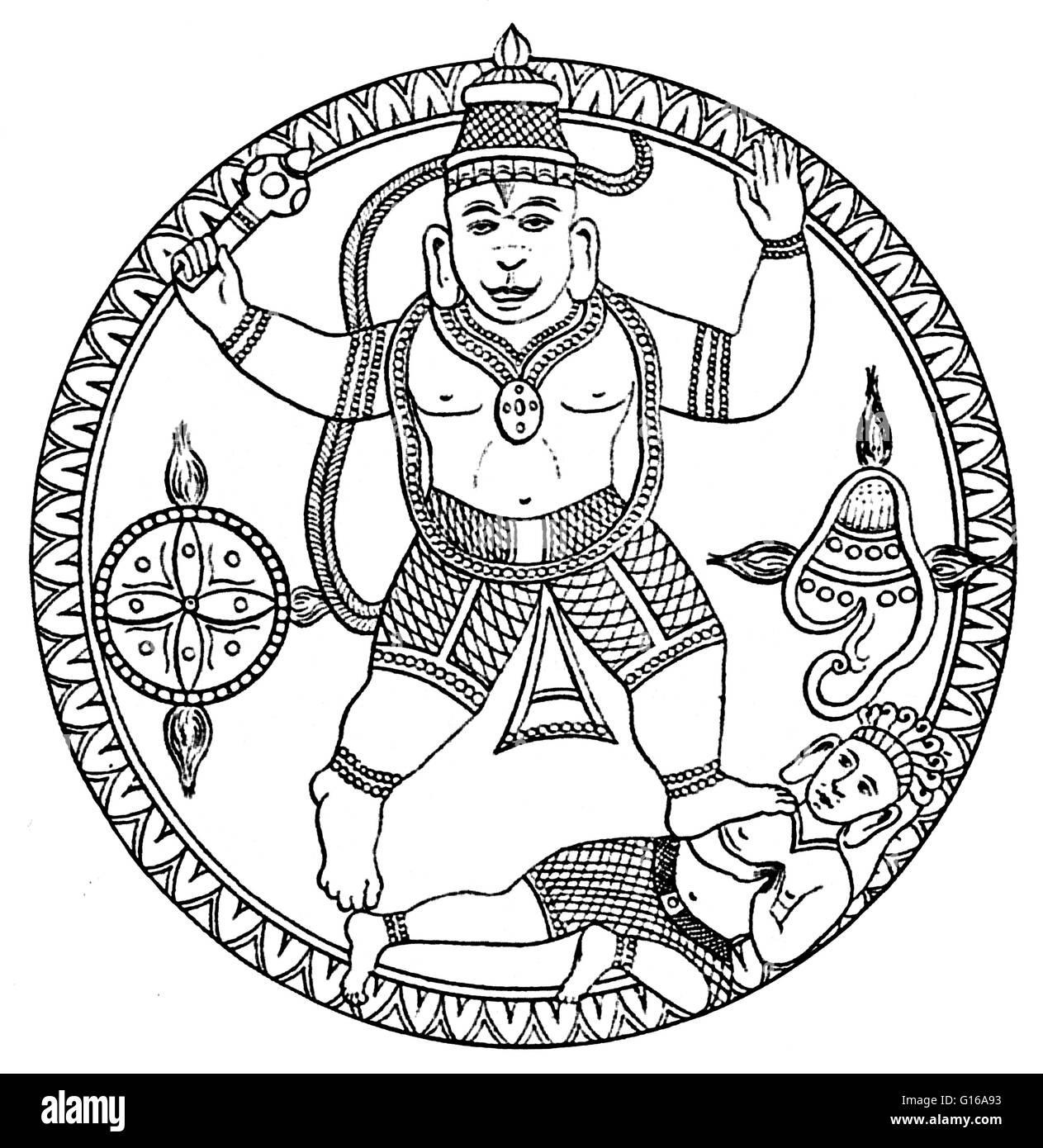 Hanuman, together with Ganesha and Garuda, is one of the three principal animal deities in the Hindu Mythology that - Stock Image