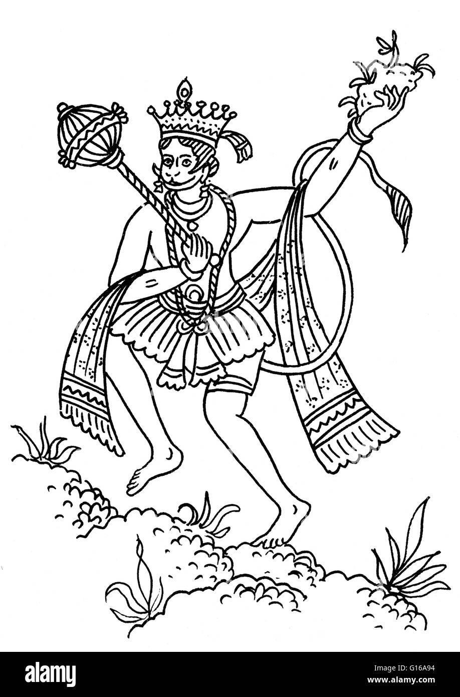Hanuman transporting the medicinal mountain. Hanuman, together with Ganesha and Garuda, is one of the three principal - Stock Image
