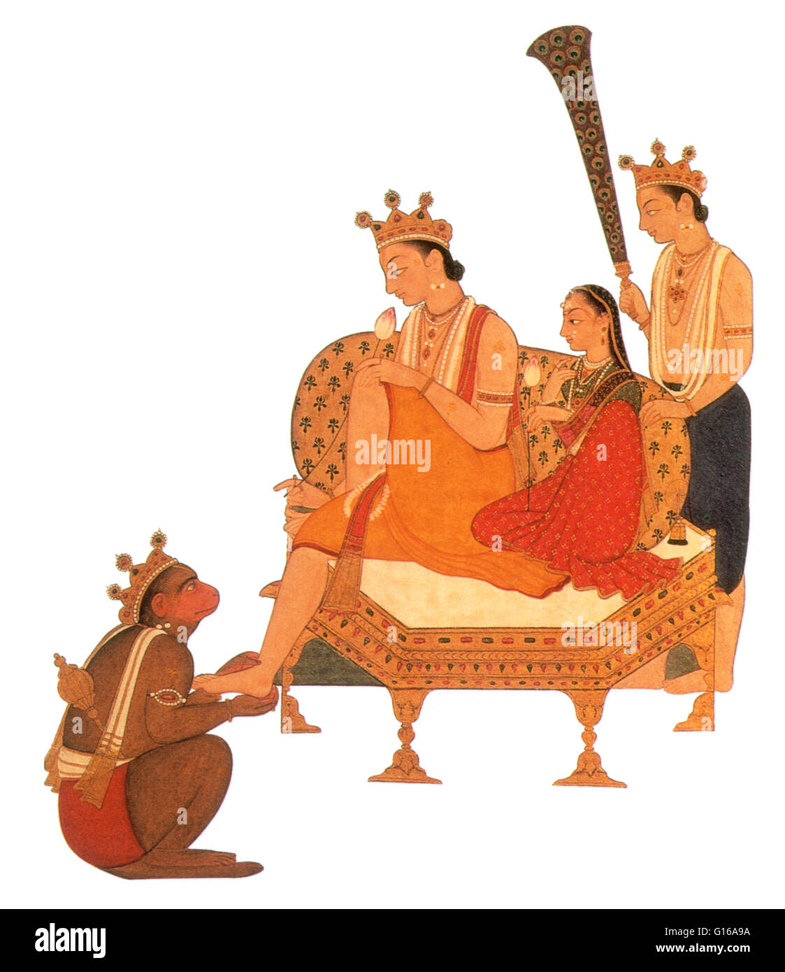 Hanuman worshipping Rama who sits with his wife, Sita and her brother, Lakshman. In Hindu myth, the seventh avatar - Stock Image