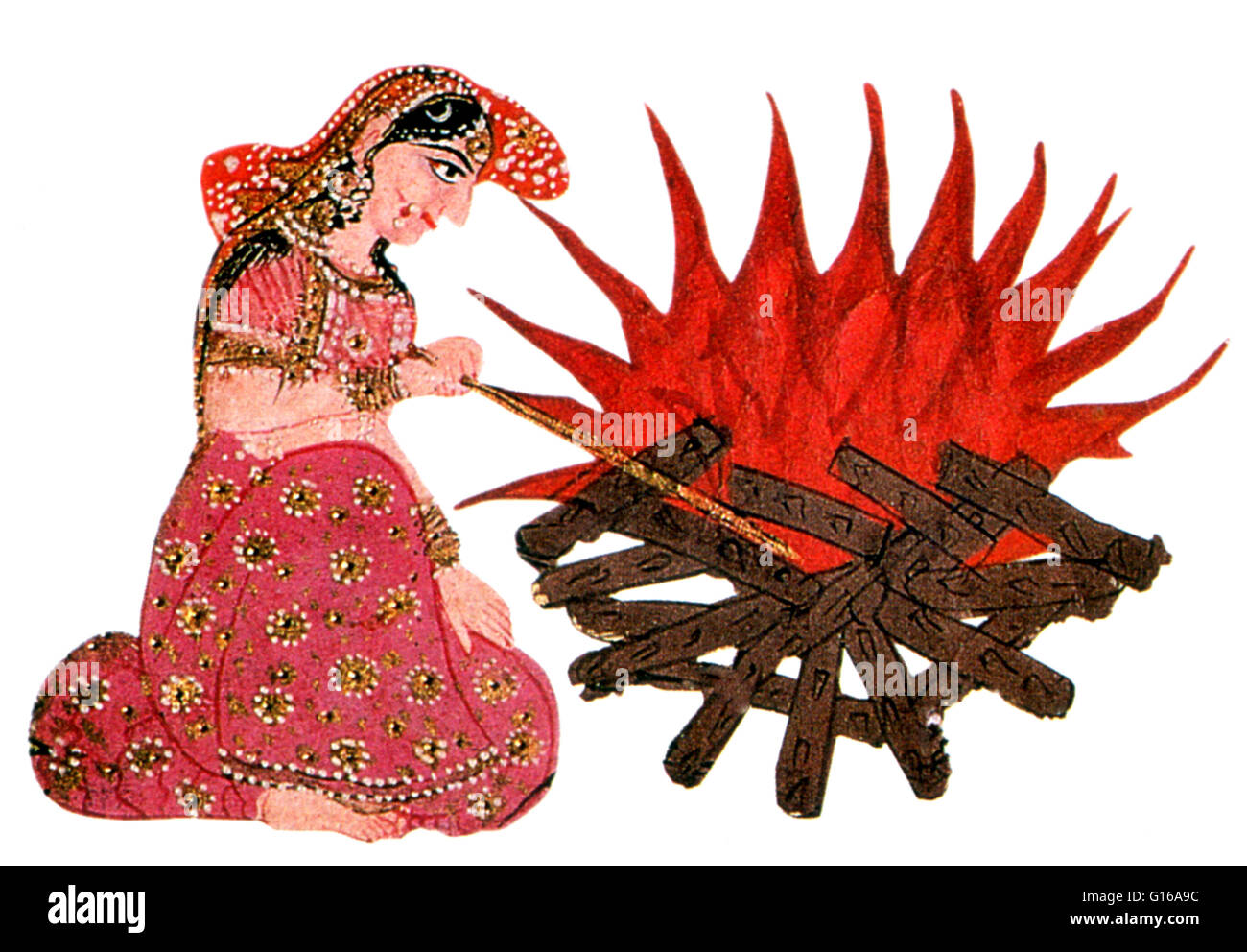 Sati, also known as Dakshayani, is a Hindu goddess of marital felicity and longevity. An aspect of Devi, Dakshayani - Stock Image